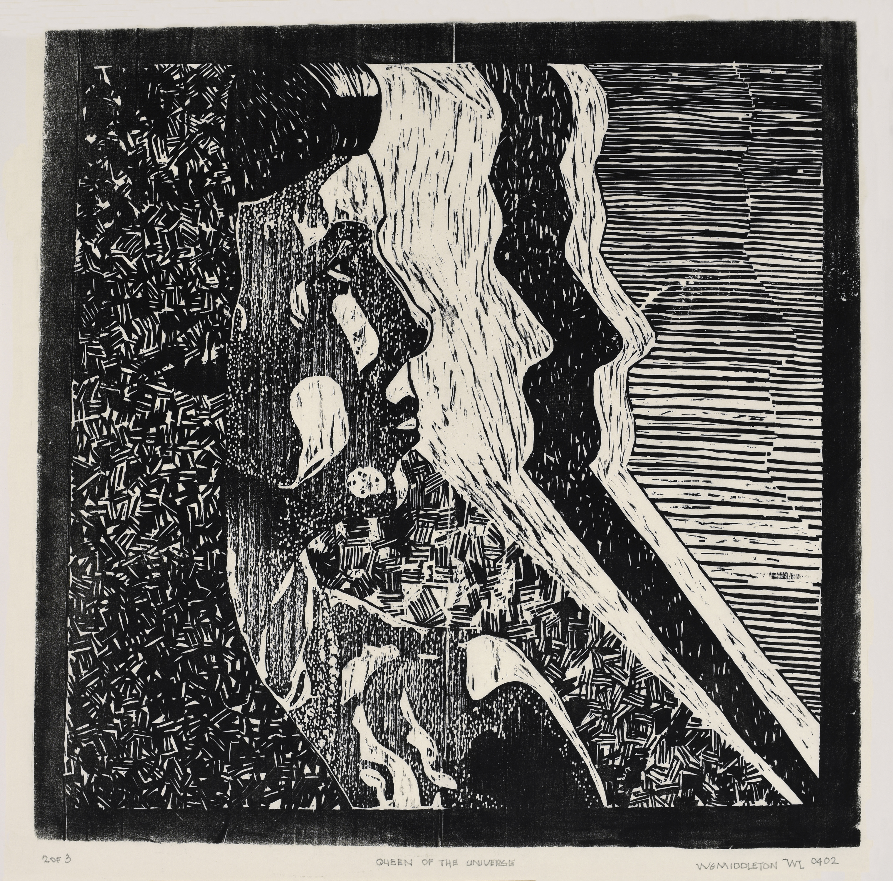 """Bill made a wood-cut version of the photograph, titled, """"Queen of the Universe."""""""